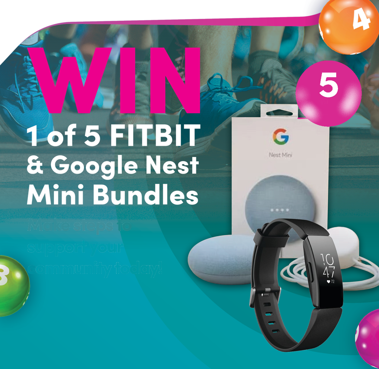WIN 1 of 5 FITBIT & Google Nest Mini Bundles